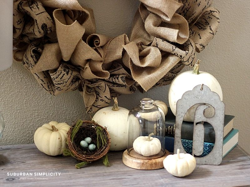 Burlap Wreath hanging on the wall.