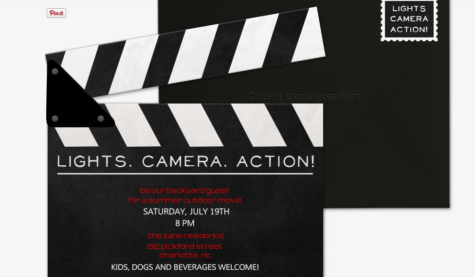 Movie Themed Evite