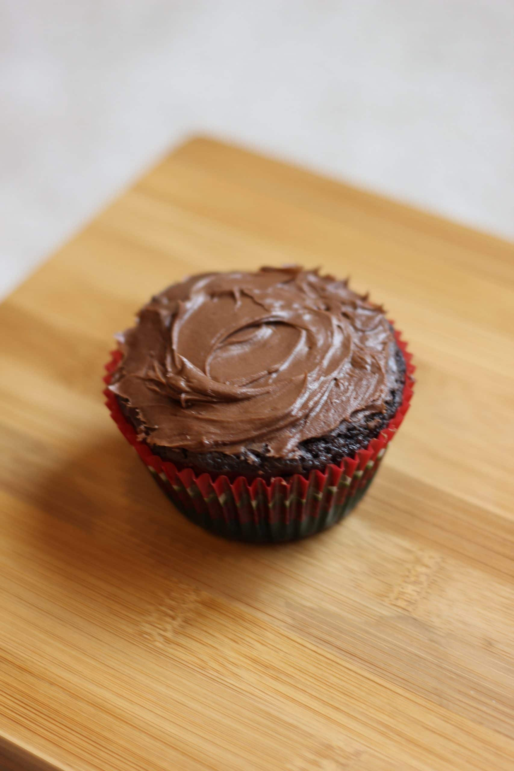 cupcake with chocolate frosting.