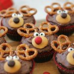 Reindeer Brownies sitting on a white countertop.