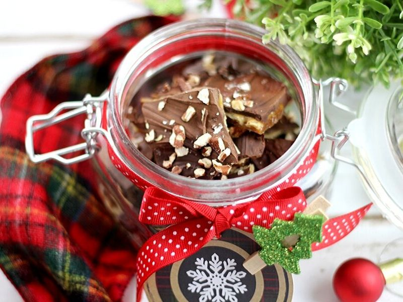 Almond roca in a jar as a gift.