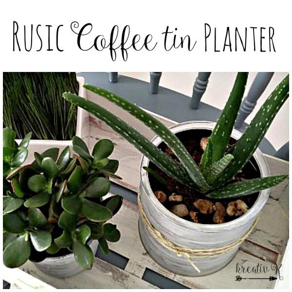 DIY Rustic Coffee Tin Planter