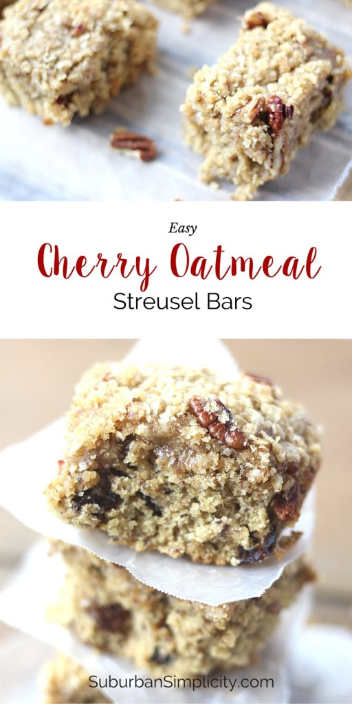 Cherry Oatmeal Streusel Bars are a great alternative to packaged bars. They are wholesome since they contain antioxidants, Omega-3s and fiber!