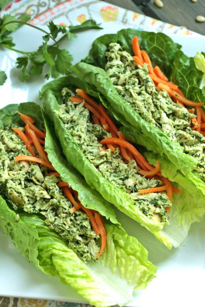 Low Carb Dinners - cilantro-pesto-chicken-wraps