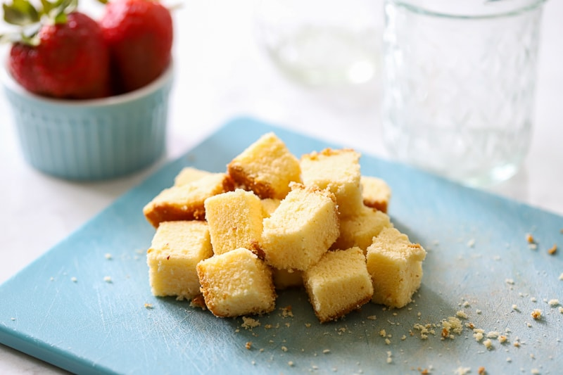 pound cake cut in squares