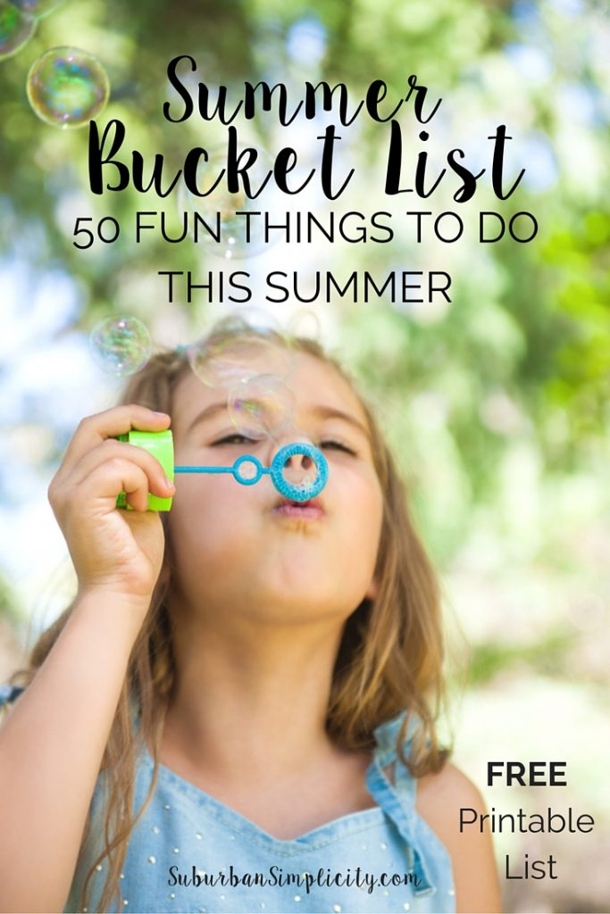 A Summer Bucket List of 50 fun things to do with kids this summer. Plus a free printable. Great ideas to keep kids entertained during the summer months.