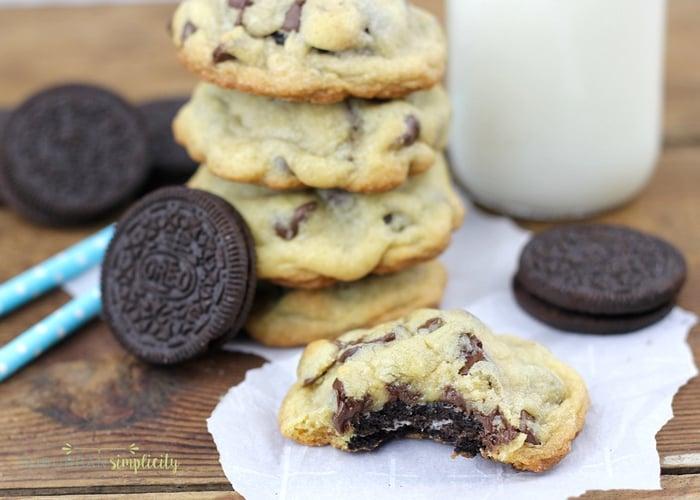 Oreo Stuffed Chocolate Chip Cookies | Oreo Recipe Idea