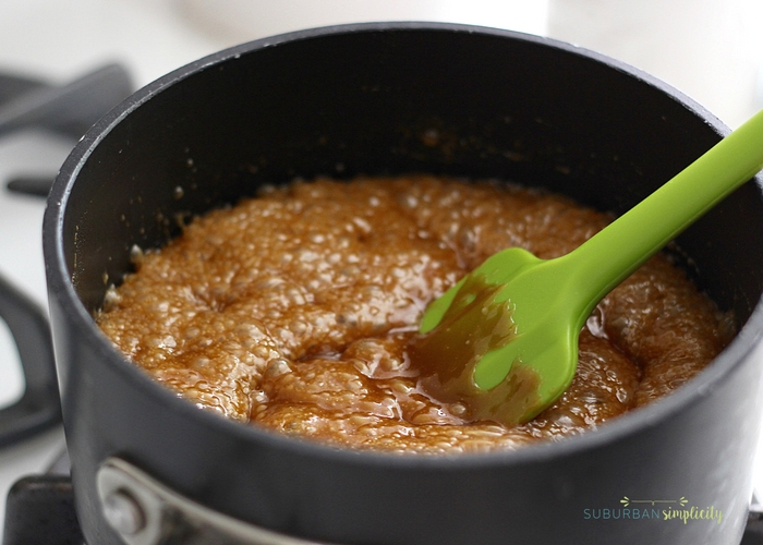 butter and sugar being brought to a boil to make caramel
