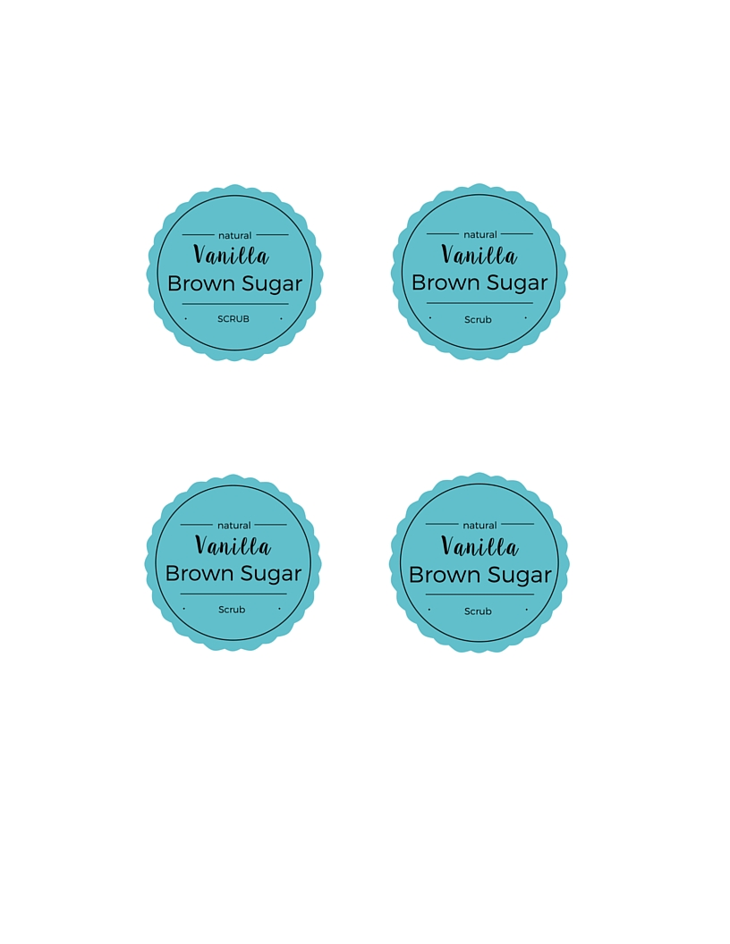 Printable Vanilla Brown Sugar Scrub tags
