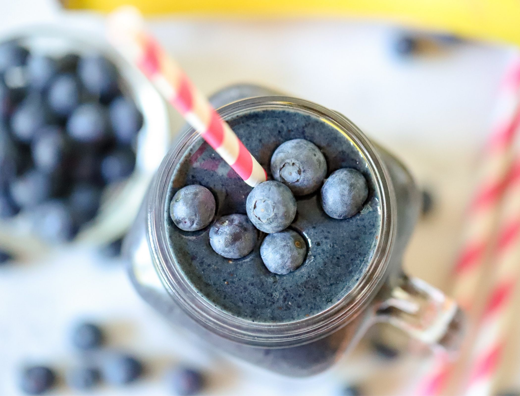 Blueberry smoothie with fresh blueberries