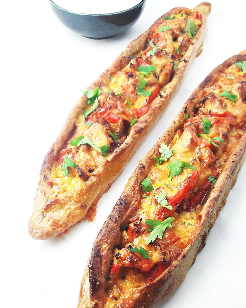 Turkish Pide Pizza With Chicken Cheddar And Red Peppers Homemade Appetizer Recipe
