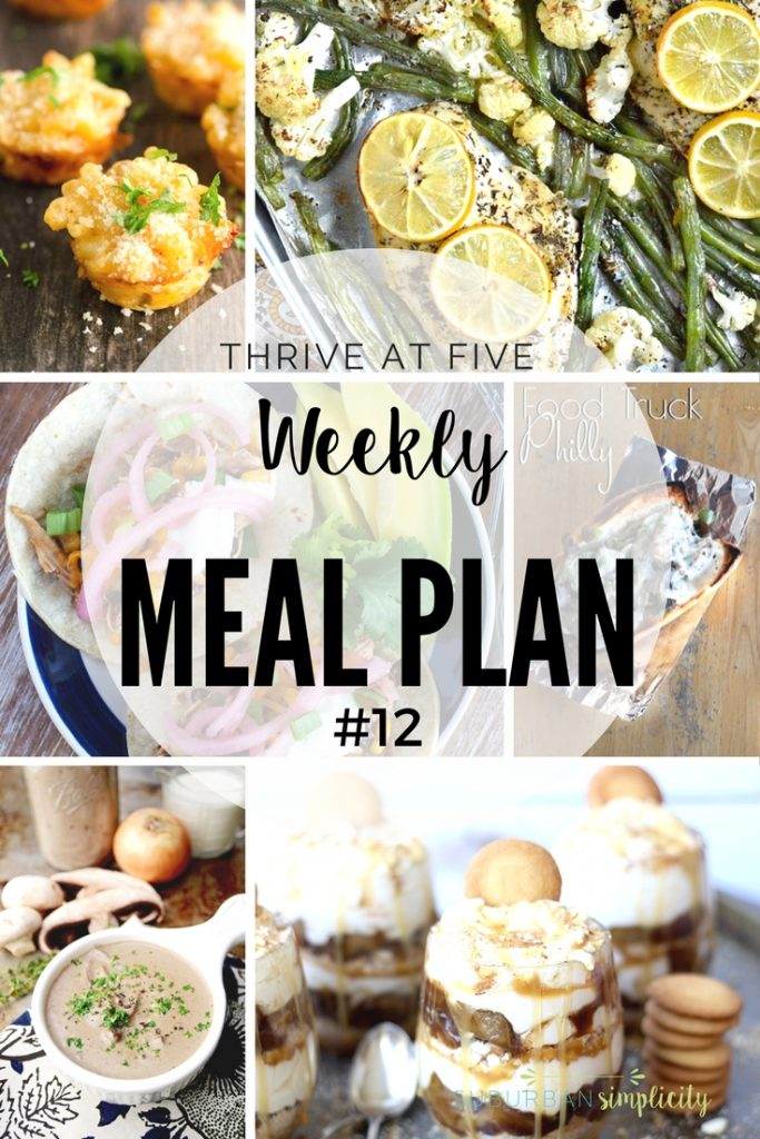 Thrive at Five Weekly Meal Plan #12 is your shortcut to fresh and tasty meal ideas your family will love! Let's get cooking!