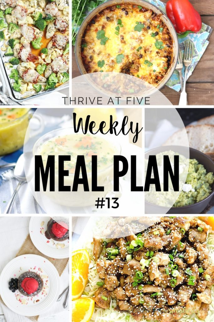 Thrive at Five Weekly Meal Plan #13 is your shortcut to fresh and tasty meal ideas your family will love! Let's get cooking!