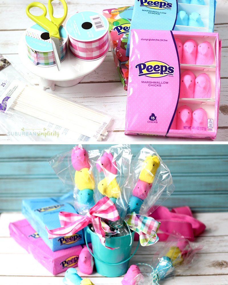 Easter DIY! Peeps on a Stick is a cute way to help celebrate Easter! This DIY is so easy and makes a great gift or Easter basket stuffer.
