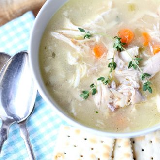 This recipe for the best Homemade Chicken Soup is so easy and delicious! It's ready in under 30 minutes! Come see the secret ingredient that makes it taste so good!