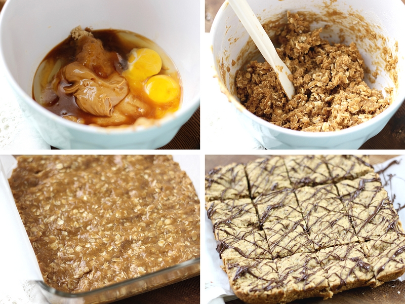 The process for making peanut butter oatmeal bars starting with the wet ingredients and then adding the dry and pressing the batter into a baking pan.