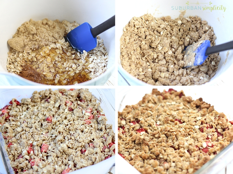 The process for making strawberry oatmeal bars from making the batter to placing it in a pan with parchment paper.