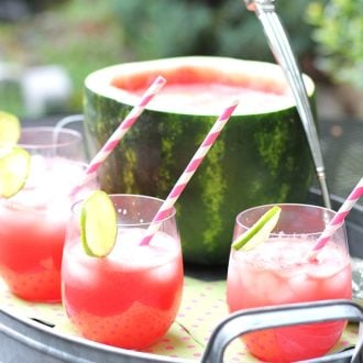 This Watermelon Punch recipe is a refreshing and delicious addition summer BBQs and get togethers! Nothing goes to waste because you turn the watermelon into a rustic serving bowl!