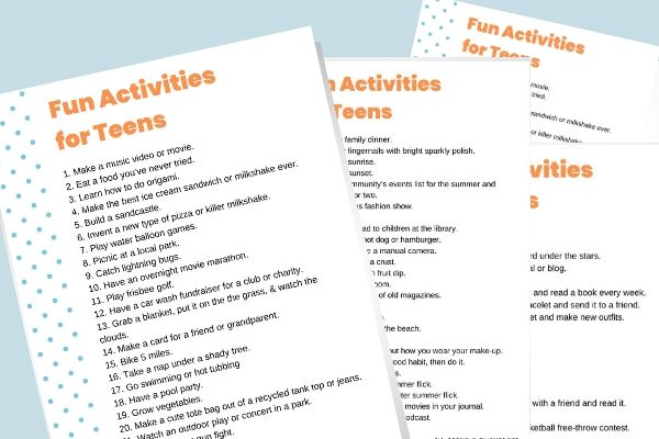 Check out theseFun Activities for a Bored Teen. Boredom busters to keep your kids busy during the summer or when you're stuck at home. Most of these ideas don't involve being on a screen!