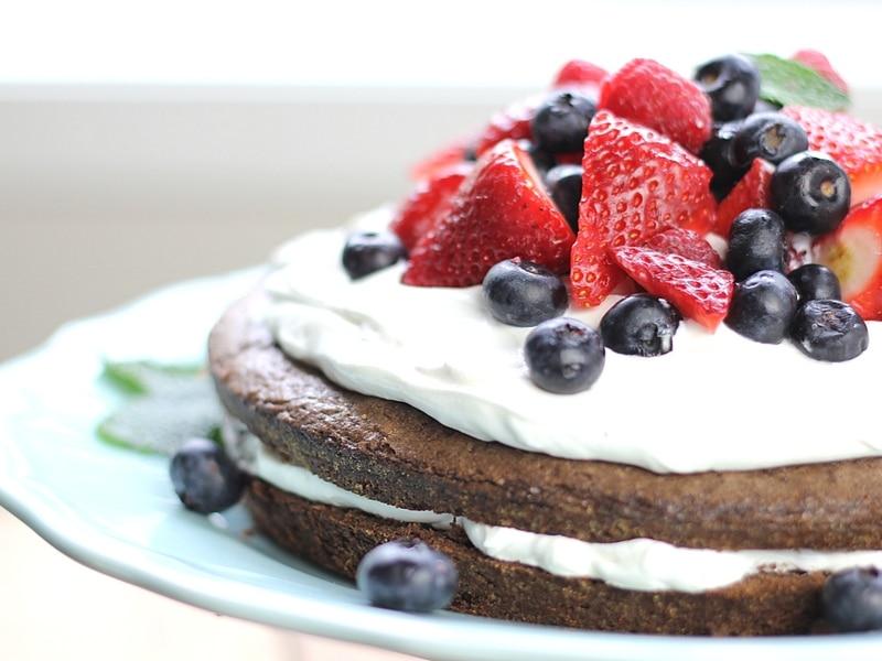 brownie strawberry shortcake on a plate