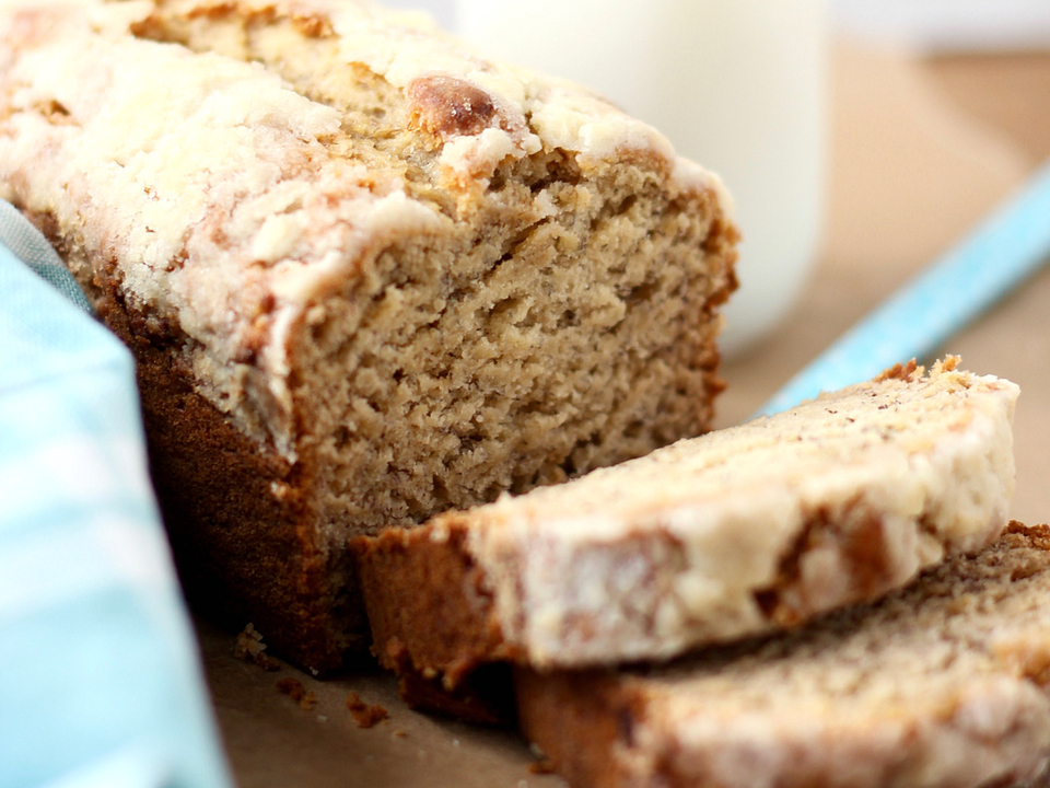 Banana bread cut in slices
