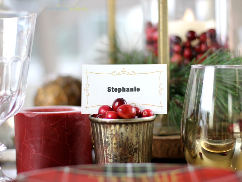 place card holder made with cranberries