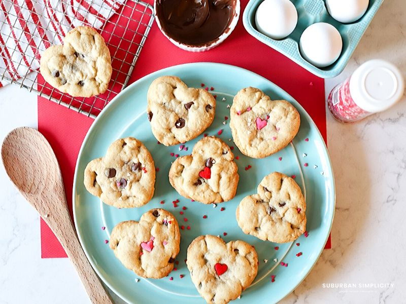 heart shaped cookies on a plate.
