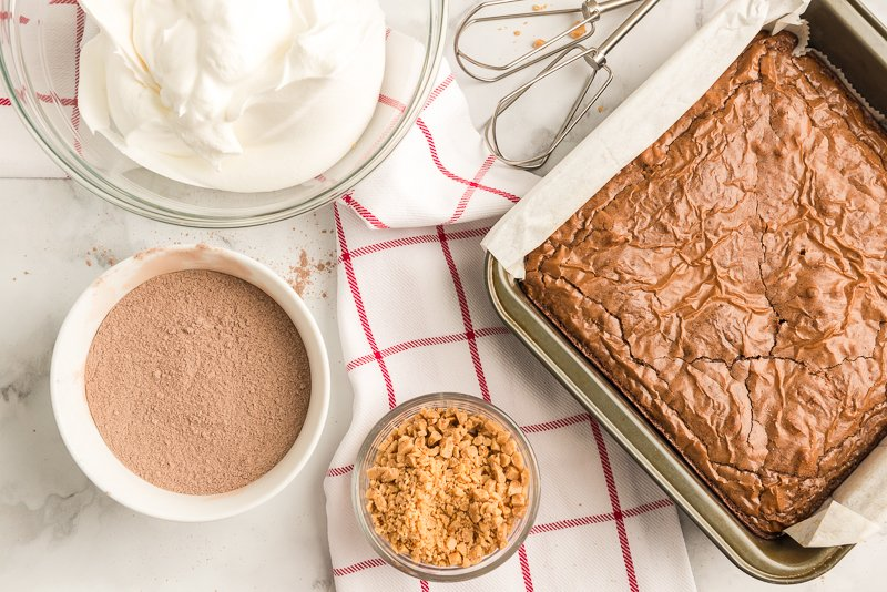 Brownies and other ingredients for chocolate trifle recipe
