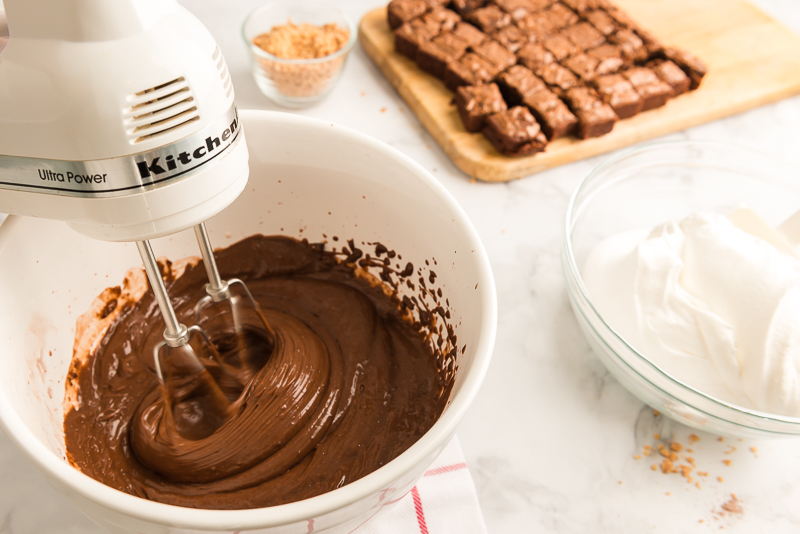 chocolate pudding being mixed