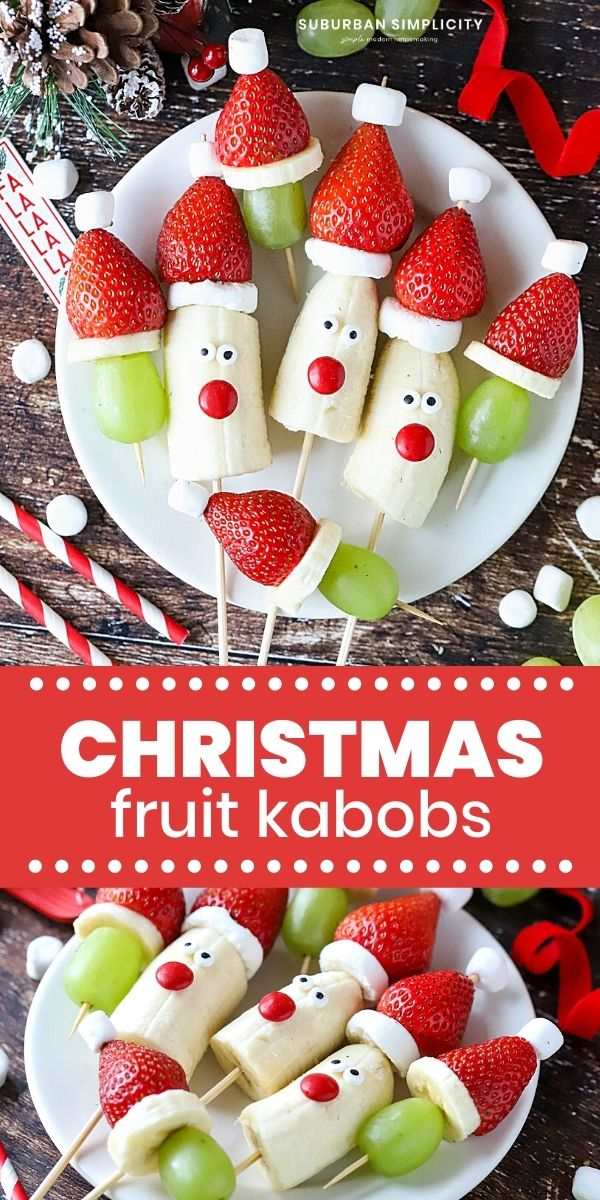 Easy and healthy Christmas fruit idea! Christmas Kabobs! These simple fruit Santas and strawberry Santa hats with grapes make a festive addition to any party, holiday celebration, gathering, or fun playdate!