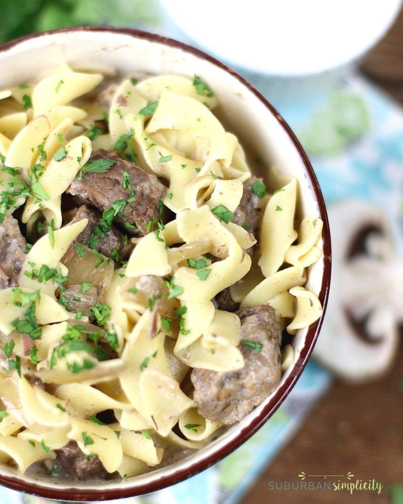 Savory beef stroganoff with noodles in a bowl.