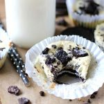 Oreo Mini Cheesecake with a bite out of it.