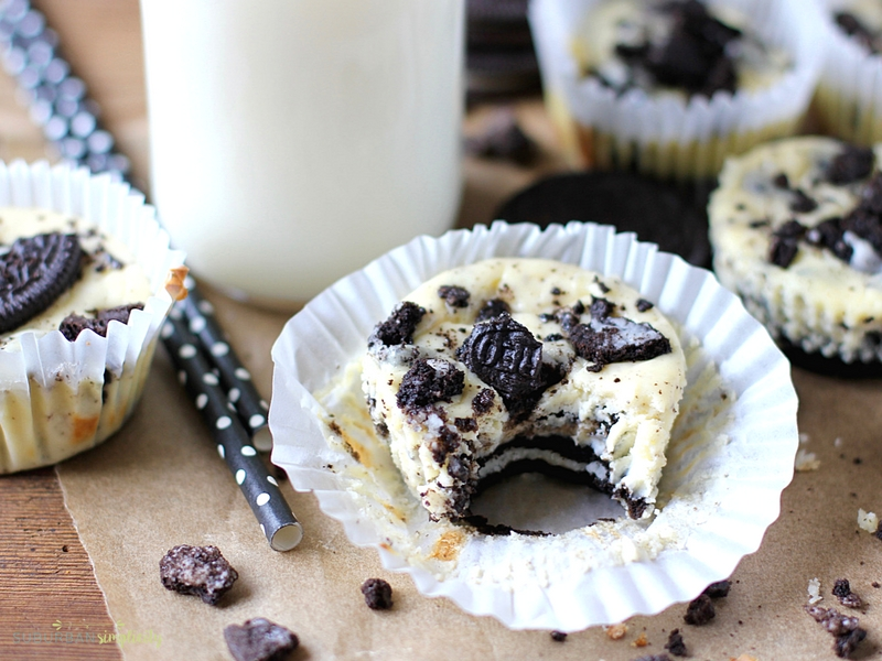 Mini Oreo Cheesecake with a bite out of it.