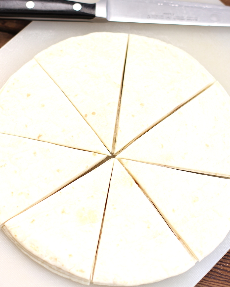 Round tortilla cut into 8 wedges.