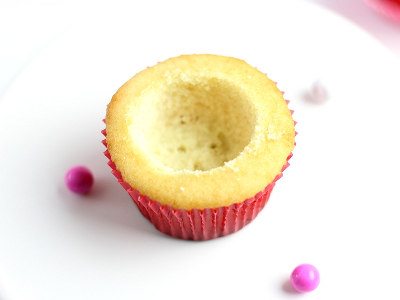 Vanilla Cupcake with the centered hollowed out.