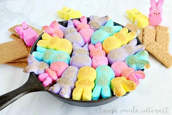 Bunny peeps made into a s'mores dip.