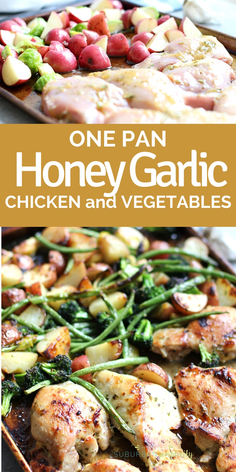 One Pan Honey Garlic Chicken and Vegetables is such and easy and delicious dinner idea! It's so flavorful and cleanup is a dream! Make this one-pan recipe on busy weeknights!