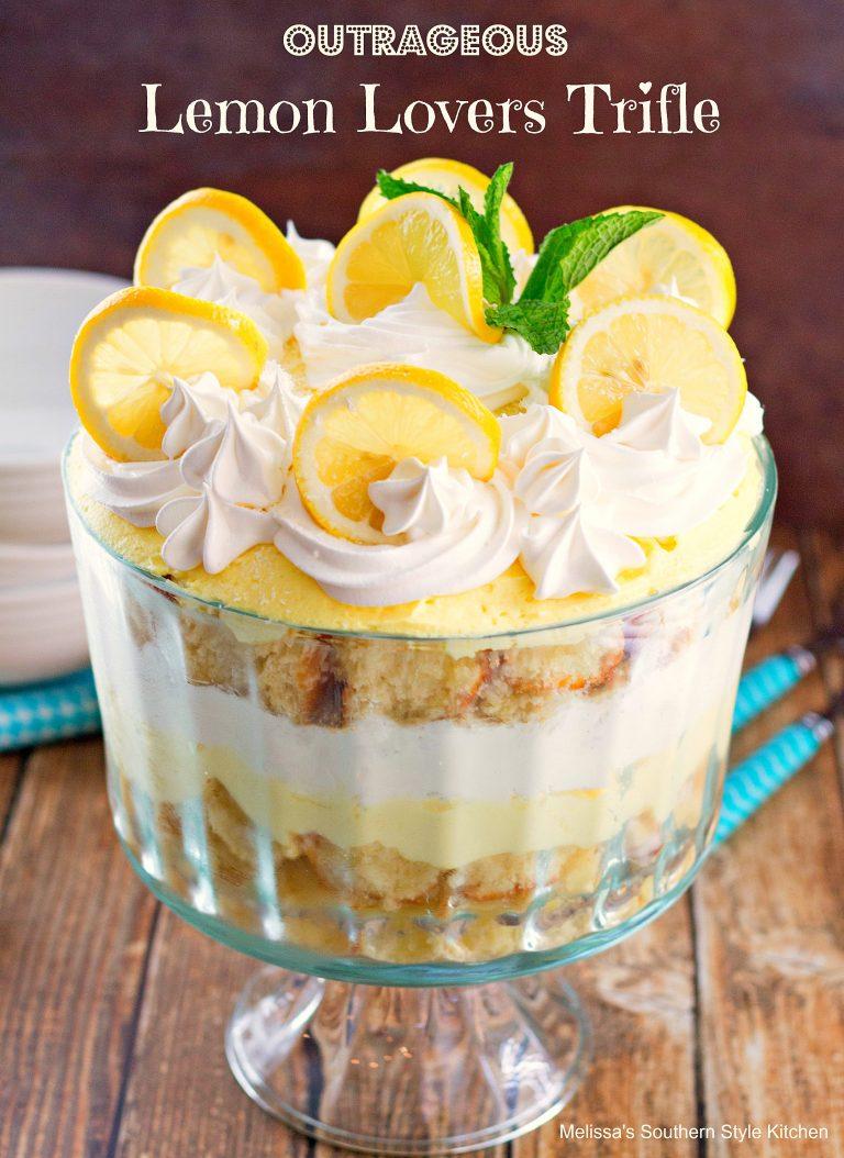 Lemon trile in a trifle dish