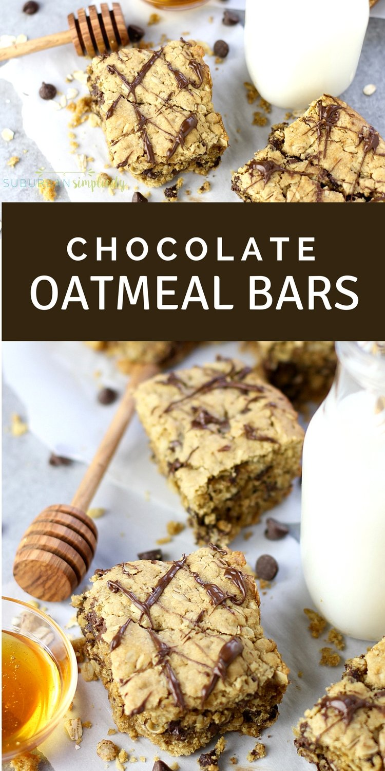 You need to try this delicious Easy Chocolate Oatmeal Bars recipe your whole family will love! With no refined sugar, they're a wholesome and delicious baking idea that's amazing for breakfast or snack time! #oatmealbars #chocoalte #bakedoatemeal