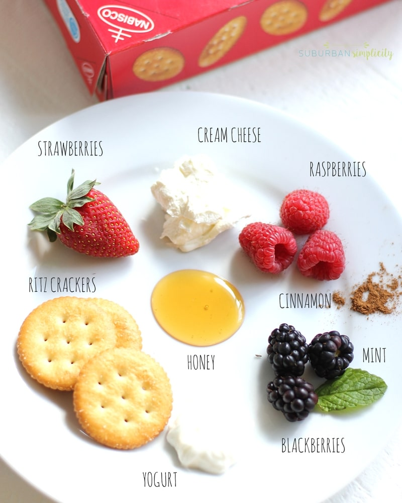 Ingredients for Berries and Cream Ritz Cracker Toppers