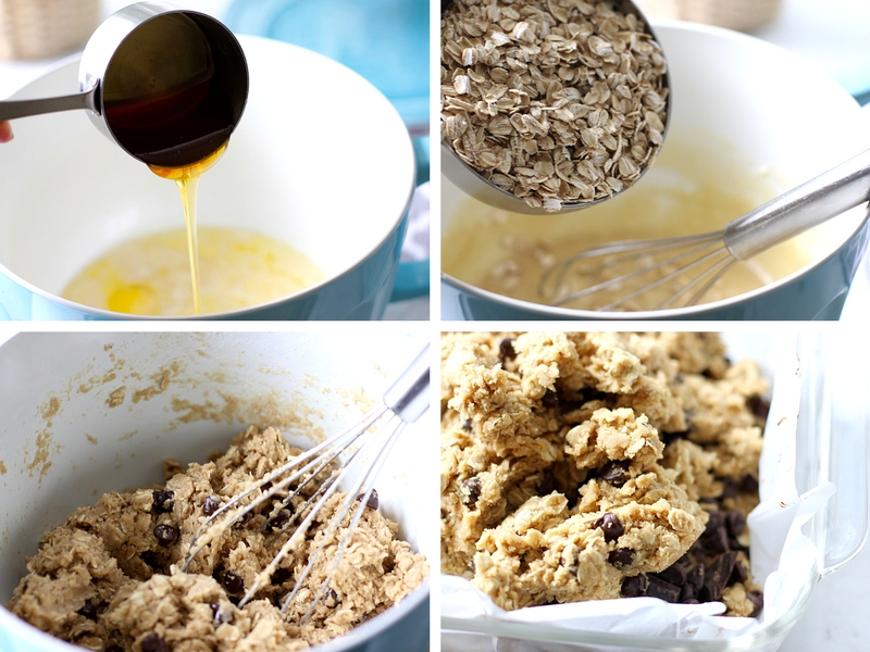 The process of making chocolate oatmeal bars from adding the ingredients to mixing them up