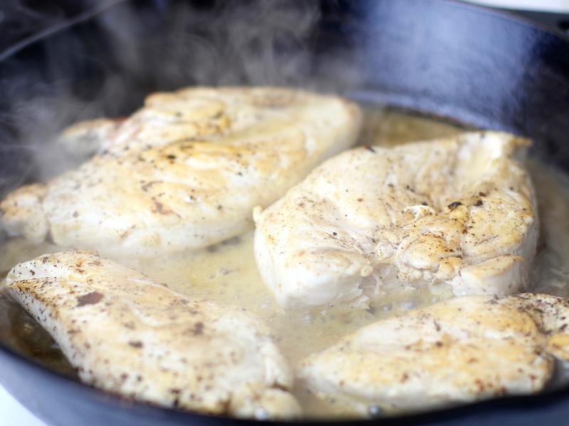 Chicken cooking for Monterey chicken recipe.