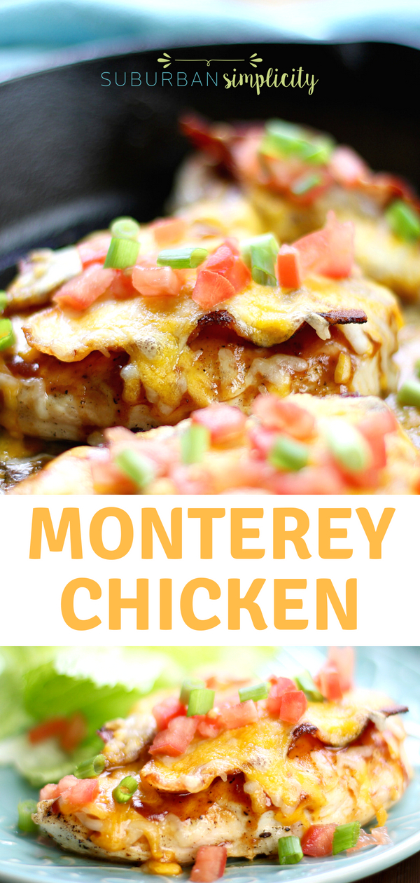 This Monterey Chicken Skillet Recipe is a quick and easy weeknight dinner.  Juicy chicken, tangy BBQ sauce, crispy bacon and lots of gooey cheese make this 30-minute dish a winner!
