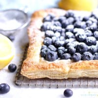 Blueberry Tart with powdered sugar on top