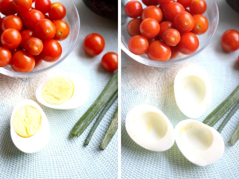 Egg halfs for making deviled eggs.