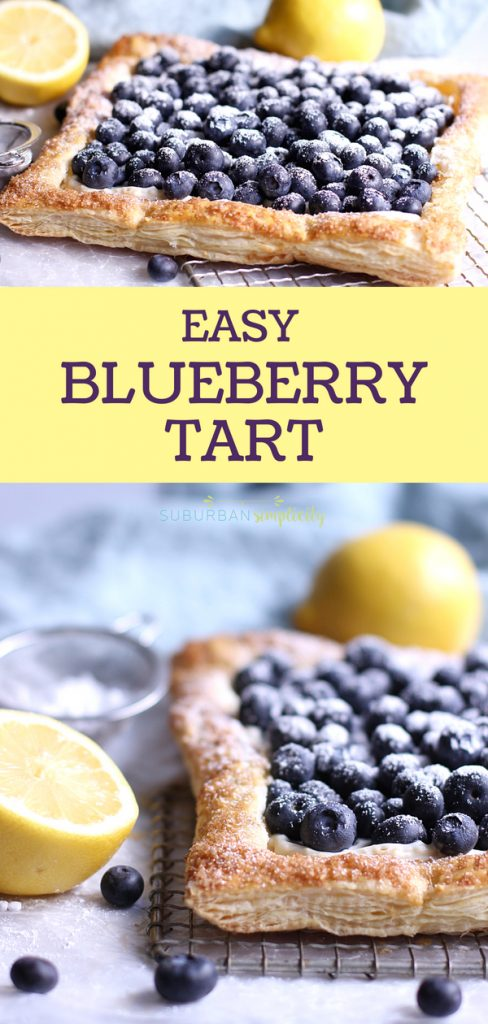 This Blueberry Tart with Puff Pastry is so easy to make and so pretty to serve. Golden, flakey crust filled with creamy cheesecake filling, topped with fresh blueberries.