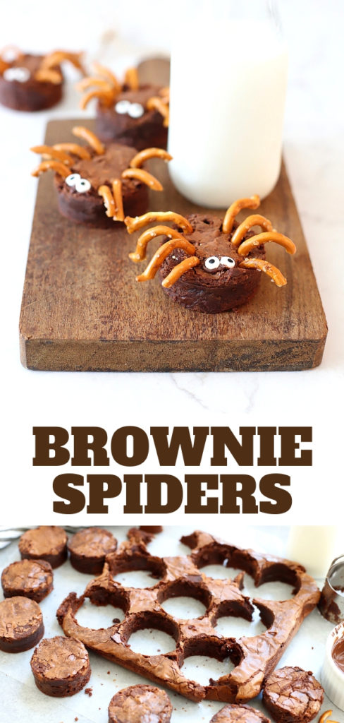 Scare up a tasty good time with these chocolatey Brownie Spiders! An easy Halloween treat idea that's perfect for Halloween parties and playdates! #suburbansimplicity #halloween