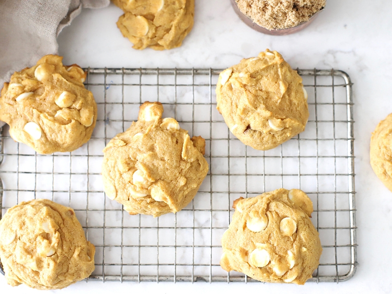 Pumpkin Spice Cookies on a cooling rack.