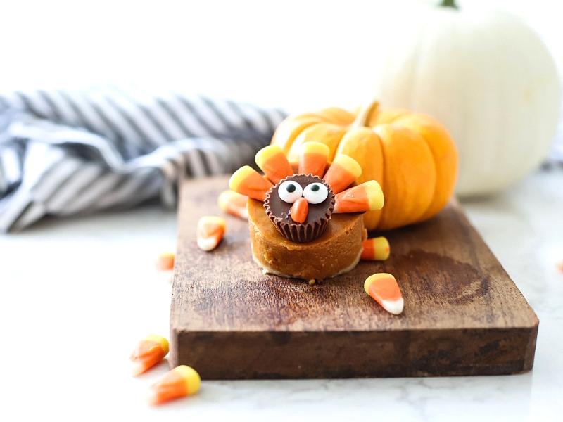 Pumpkin Pie Turkey with candy corn feathers.