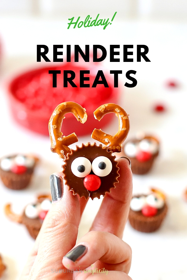Here's one of the cutest holiday treats! Reese's Reindeer are so easy to make and have that salty sweet combo everyone loves! #suburbansimplicity #Christmas #holiday #Reindeer #treats